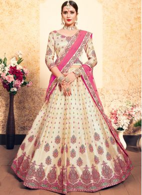 Beige Satin Thread Trendy Lehenga Choli