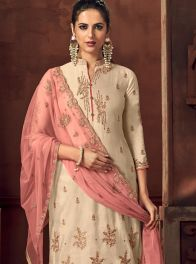 Beige Silk Embroidered Trendy Palazzo Salwar Kameez