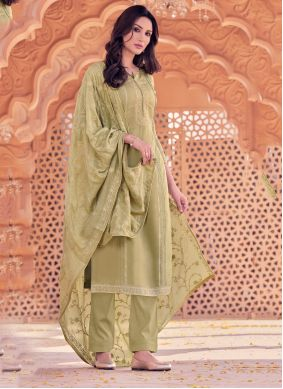 Beige Trendy Straight Salwar Suit