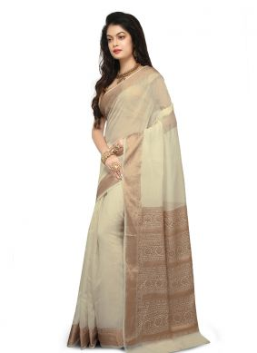 Beige Weaving Art Banarasi Silk Designer Traditional Saree