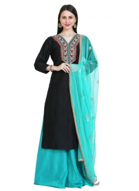 Best Cotton Silk Embroidered Black Readymade Suit