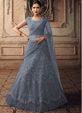 Best Grey Net Trendy A Line Lehenga Choli
