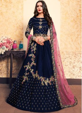 Best Navy Blue Zari Designer Lehenga Choli