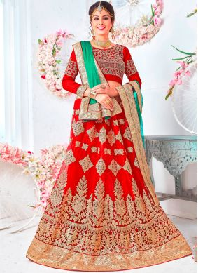 Best Red Embroidered Net Lehenga Choli