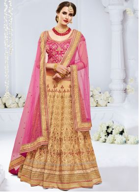 Bhagalpuri Silk Peach Embroidered Lehenga Choli