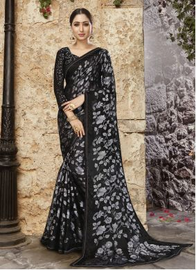 Black Abstract Print  Tissue Brasso Printed Saree