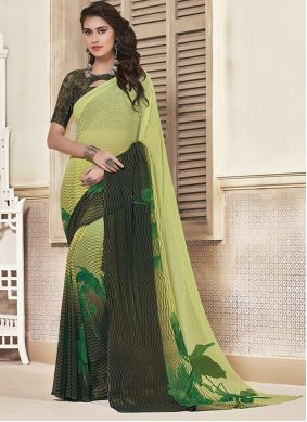 Black and Green Georgette Saree