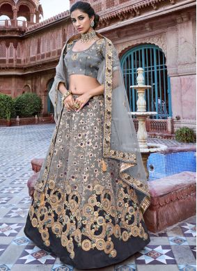 Black and Grey Embroidered Reception Designer A Line Lehenga Choli