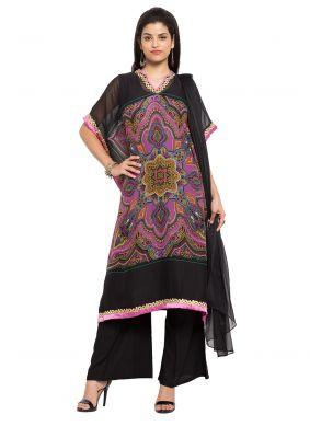Black and Pink Faux Georgette Readymade Salwar Kameez