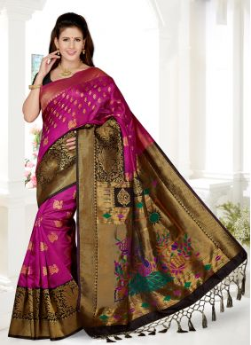 Black and Rani Embroidered Ceremonial Traditional Saree