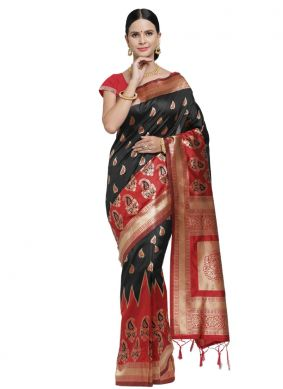 Black and Red Art Silk Classic Saree