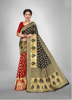 Black and Red Art Silk Weaving Half N Half  Saree