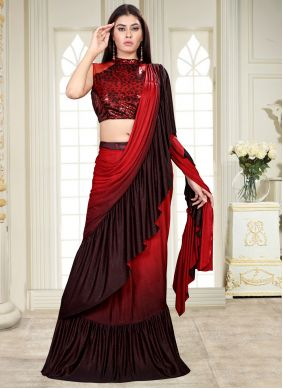 Black and Red Sequins Work Lycra Shaded Saree