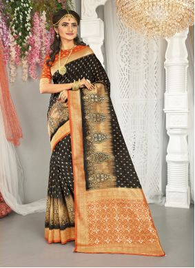 Black and Red Weaving Traditional Saree