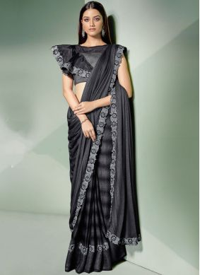 Black and Silver Mehndi Lycra Designer Saree