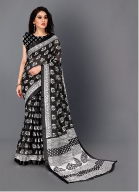 Black and White Color Classic Saree