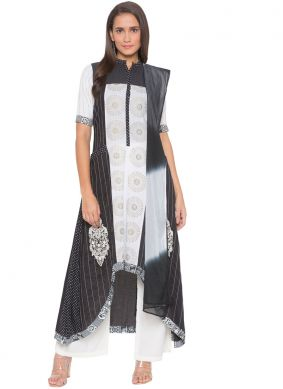 Black and White Embroidered Ceremonial Readymade Suit