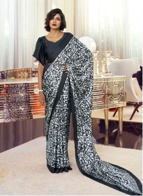 Black and White Faux Crepe Classic Saree