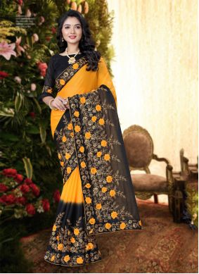 Black and Yellow Embroidered Festival Trendy Saree