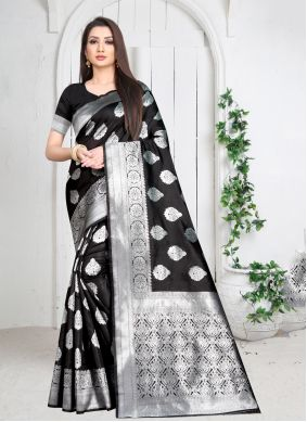 Black Art Silk Casual Saree