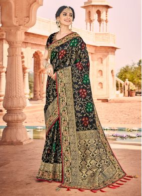 Black Banarasi Silk Weaving Saree