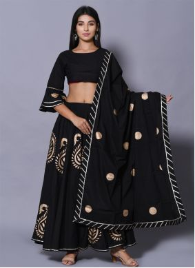 Black Block Print Lehenga Choli