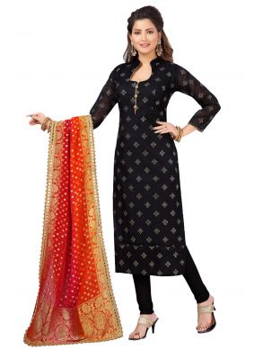 Black Chanderi Churidar Salwar Suit