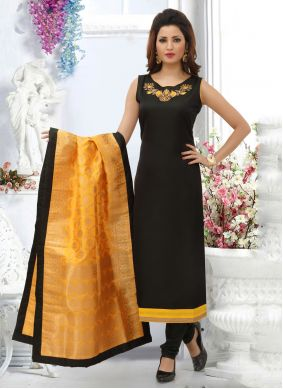 Black Color Designer Straight Salwar Suit