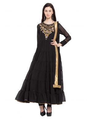 Black Color Layered Anarkali Salwar Kameez