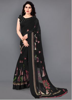 Black Cotton Casual Saree