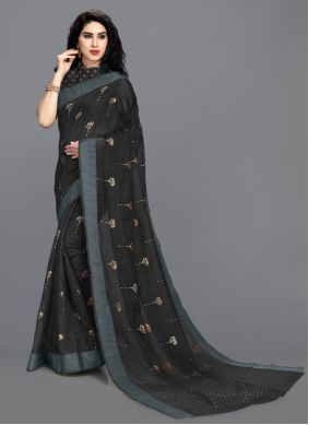 Black Cotton Print Printed Saree