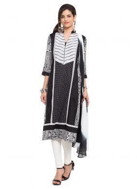 Black Cotton Printed Readymade Churidar Salwar Kameez