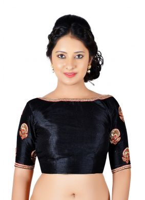 Black Embroidered Art Dupion Silk Designer Blouse