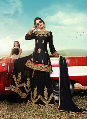 Black Embroidered Faux Georgette Palazzo Suit