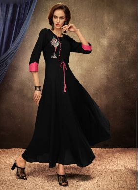 Black Embroidered Festival Casual Kurti