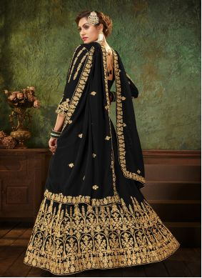 Black Embroidered Festival Floor Length Anarkali Suit