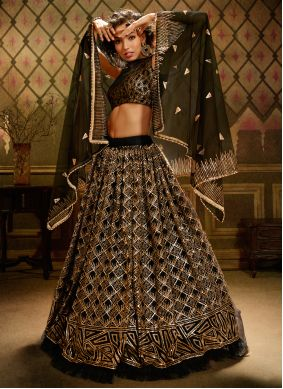 Black Embroidered Festival Trendy Lehenga Choli