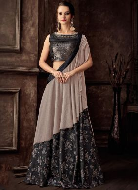Black Embroidered Jacquard Lehenga Style Saree