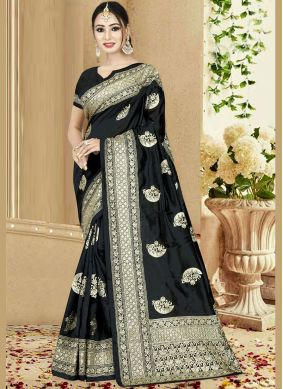 Black Embroidered Mehndi Traditional Designer Saree