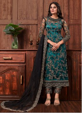 Black Embroidered Net Pant Style Suit
