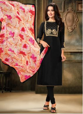 Black Embroidered Party Pant Style Suit