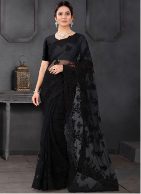 Black Embroidered Trendy Saree