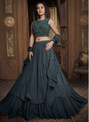 Black Fancy Fabric Designer Lehenga Choli