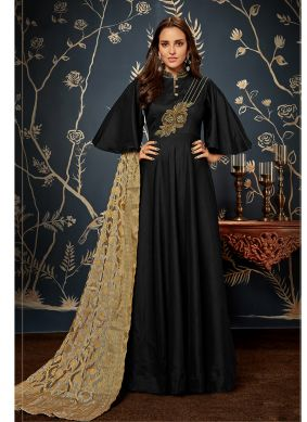 Black Fancy Fabric Party Readymade Gown