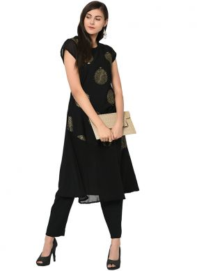 Black Fancy Faux Crepe Party Wear Kurti