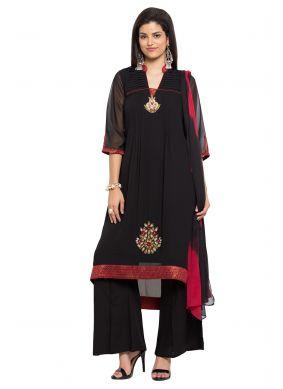 Black Faux Georgette Embroidered Readymade Salwar Kameez