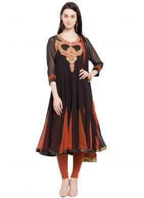 Black Faux Georgette Engagement Readymade Anarkali Salwar Suit