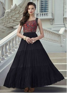 Black Festival Georgette Readymade Gown