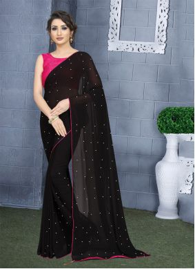 Black Georgette Trendy Saree