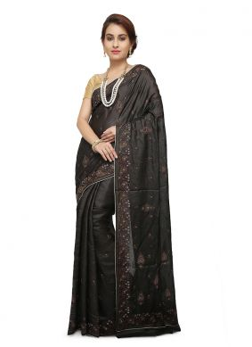 Black Mehndi Designer Traditional Saree
